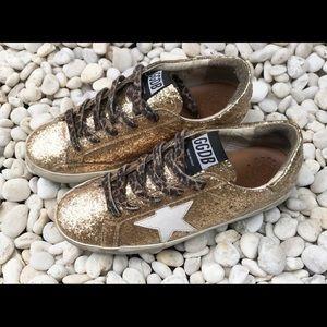 Golden Goose GGDB Leopard Lace-Up Glitter Kids Sne